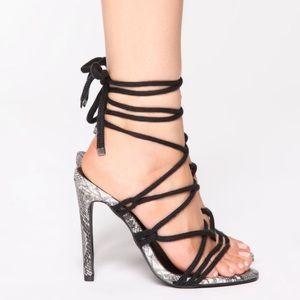 Black Snake Heeled Sandals